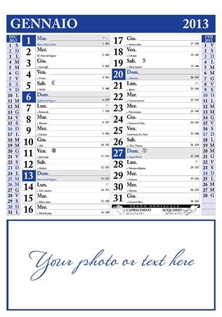 2013 年 1 月イタリア カレンダー