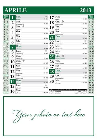 2013 年 4 月イタリア カレンダー