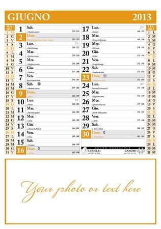 2013 年 6 月イタリア カレンダー