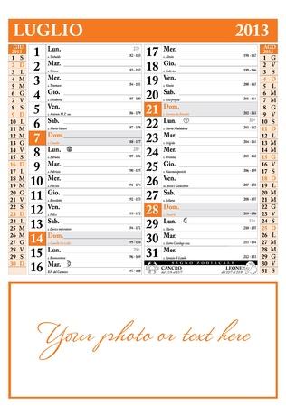 2013 年 7 月イタリア カレンダー