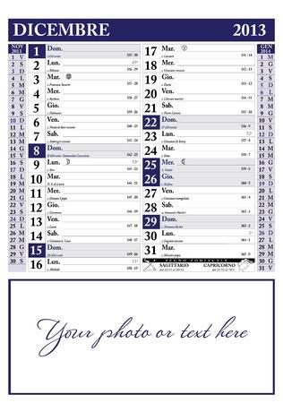 December 2013 Italian Calendar Reklamní fotografie - 15777355