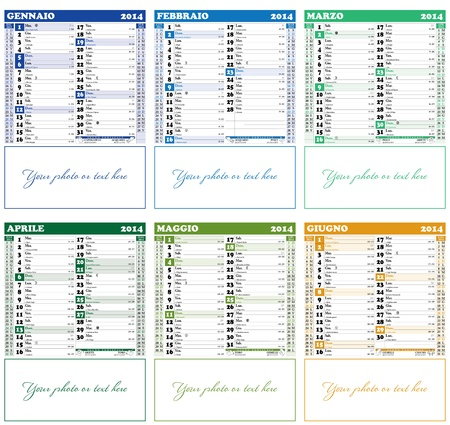 January - June 2014, Italian Calendar with Saints, Italian public holidays, lunar phases and zodiacal signs - 1st part Иллюстрация