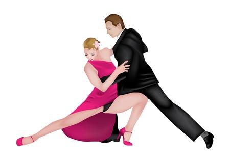 Romantic and elegant couple dancing tango