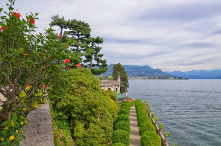 Park of Borromean Palace, Isola Bella, on Maggiore Lake, Italy Фото со стока
