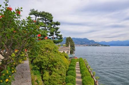 bella: Park of Borromean Palace, Isola Bella, on Maggiore Lake, Italy Stock Photo