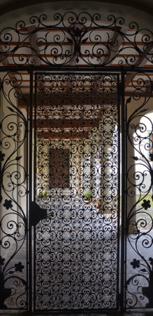 Wrought Iron Gate with Door to the Cloister Banco de Imagens