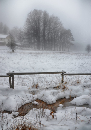 wintry: Surreal Wintry Scenery with Snow and Fog Stock Photo