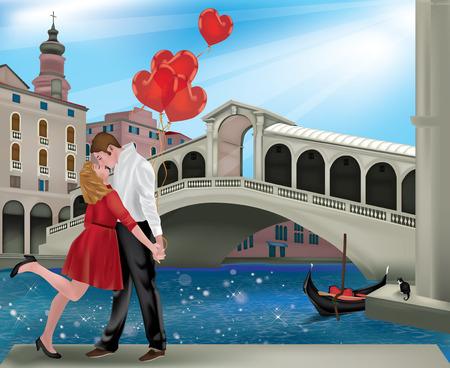 rialto bridge: Romantic couple in Venice with the Rialto Bridge, ideal for Saint Valentine Illustration