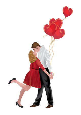 14 february: Young Couple in love with Heart Balloons on white background Illustration