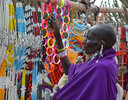 Masai woman in a traditional Tanzanian market