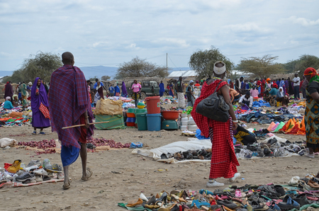 Traditional Masai Market in Tanzania Editorial