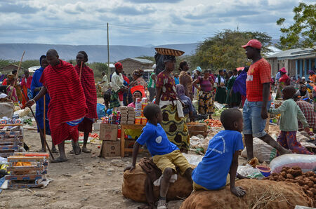 Traditional Masai Market in Tanzania Editorial
