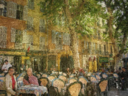 en: Cafe Aix en Provence - artwork of my own.