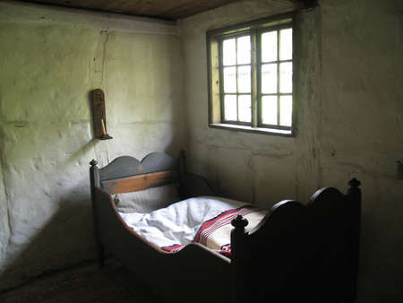 danish: Bedroom in old farmhouse - Denmark Stock Photo