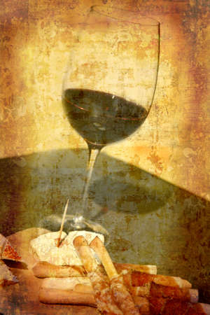 Artistic work of my own in retro style - Postcard from Italy. - Wine tasting Stock Photo