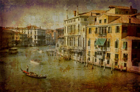 Artistic work of my own in retro style - Postcard from Italy. - Traffic Grand Canal - Venice. Stock Photo