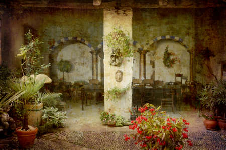 Artistic work of my own in retro style - Postcard from Italy. - Patio - Piedmont.