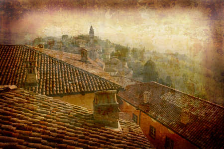 Artistic work of my own in retro style - Postcard from Italy. - Monteforte Alba - Piedmont.