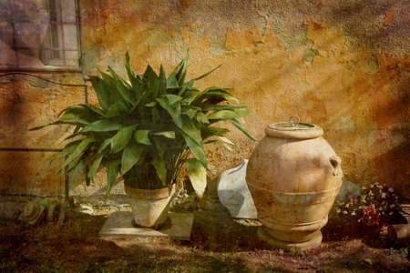 Artistic work of my own in retro style - Postcard from Italy. - Rural garden - Tuscany.