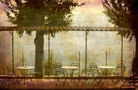 Artistic work of my own in retro style - Postcard from Italy. - Tables with view - Piedmont. Stock Photo
