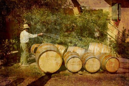 Artistic work of my own in retro style - Postcard from Italy. - Farmer preparing new wine barrels - Piedmont