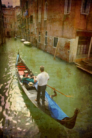 Artistic work of my own in retro style - Postcard from Italy. - Gondola - Venice. Stock Photo