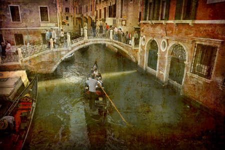 Artistic work of my own in retro style - Postcard from Italy. - Gondola near bridge - Venice.