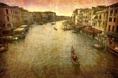 Artistic work of my own in retro style - Postcard from Italy. - Grand Canal - Venice. Stock Photo