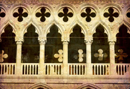 Artistic work of my own in retro style - Postcard from Italy. - The Dukes Palace - Venice Stock Photo