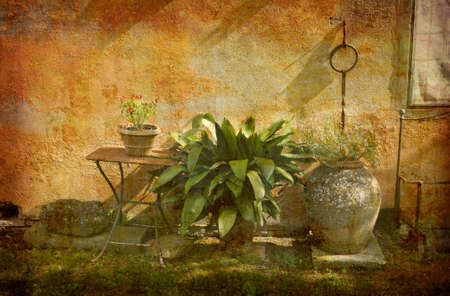Artistic work of my own in retro style - Postcard from Italy. - Country garden - Tuscany