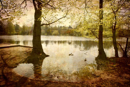 Artistic work of my own in retro style - Postcard from Denmark. - Morning by the lake.