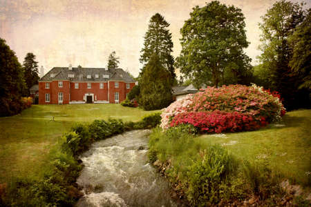 Artistic work of my own in retro style - Postcard from Denmark. - Manor house with beautiful park.