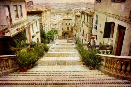 Artistic work of my own in retro style - Postcard from Italy. - Beautiful staircase Corinaldo, Italy