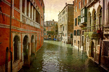 Artistic work of my own in retro style - Postcard from Italy. - Idylic canal Venice.