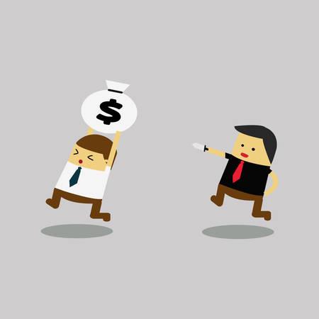 rob: Rob Money. cartoon concept Vector illustration Illustration