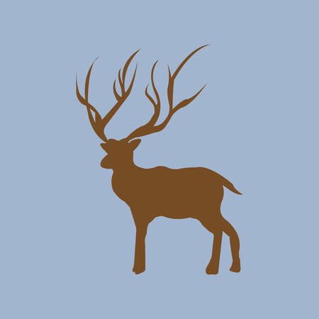 Cute deer cartoon on blue background Illustration
