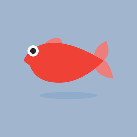 Cute red fish cartoon  on blue background