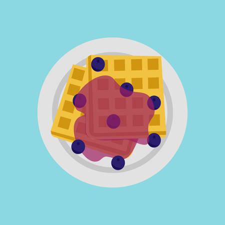 Waffle topped with blueberry sauce illustration. Illustration