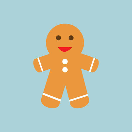 Christmas cookie on blue background.Ginger bread.