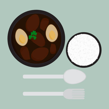 Khai Pha Lo. 갈색 국물 달걀은 태국 식 요리 인 달콤한 육즙으로 삶습니다. 일러스트