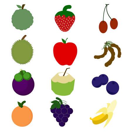 set or fruit on white background Illustration