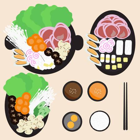 Japanese food : hot pot, sha-bu , suki-yaki Illustration