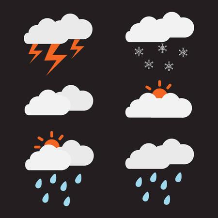 天気アイコンセットベクトルイラスト。