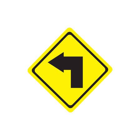 Turn left sign. Illustration