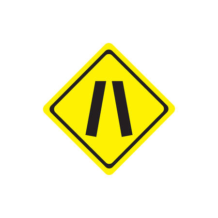 Road narrows traffic sign on white background with clipping path.