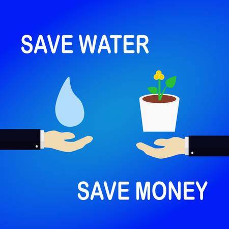 water besparen geld concept opslaan Stock Illustratie