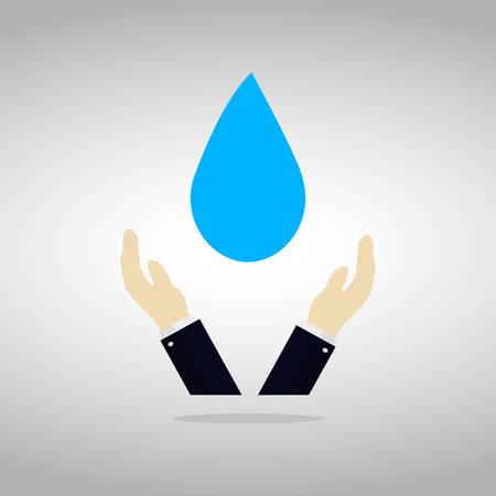 Sparen waterconcept met man hand die druppeltje vangen