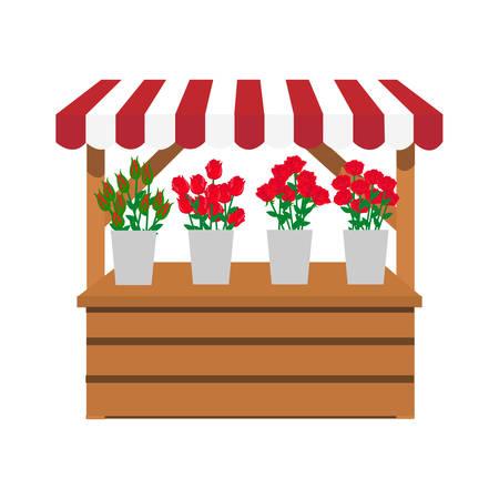 hout staan bloemenwinkel Vector illustratie.