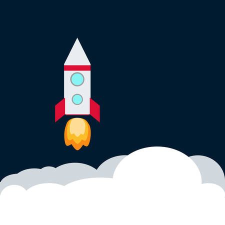 Rocket. Spaceship take off with fire. Colored space ship icon.  Business concept. Stock Illustratie