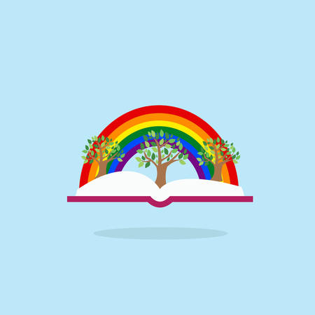 Open book with tree and rainbow. Inspiration pictogram. Power of knowledge and education sign. Illustration